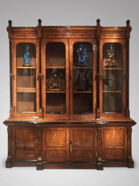 Premium! antiker Breakfront Bücherschrank aus Pollard-Eiche Massivholz von Prince&Delany um 1880