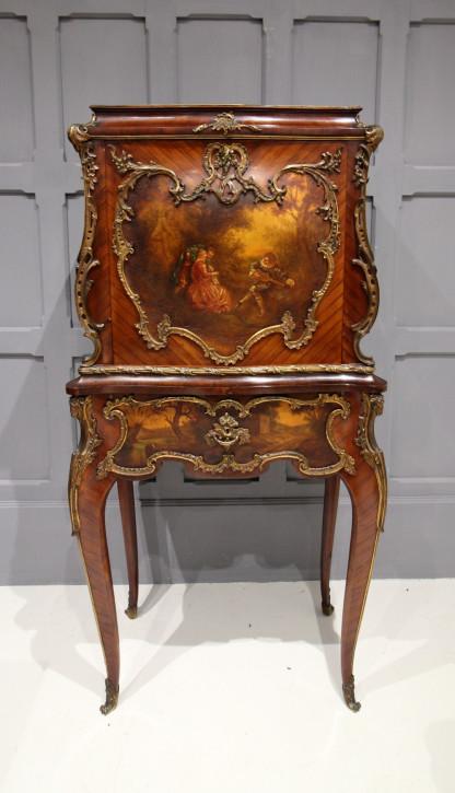 """Premium! französisches """"bureau de dame"""" mit Vernis Martin aus Königsholz Massivholz 19. Jahrhundert antik"""