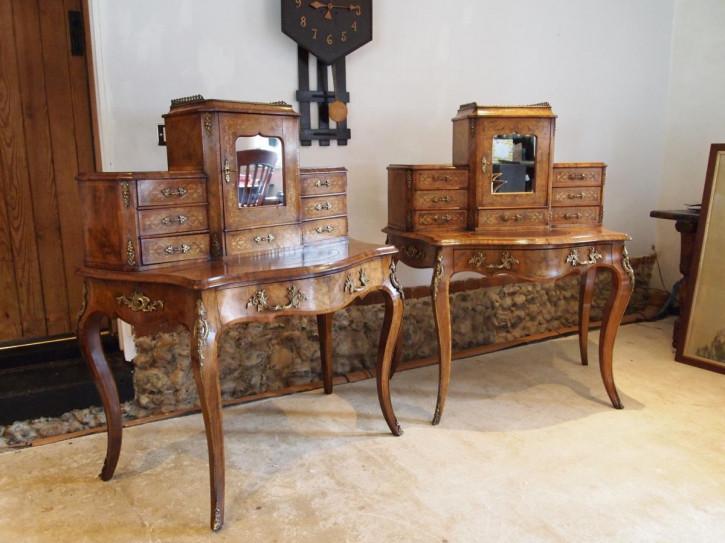 Premium! Seltenes Paar Bonheur du jour's aus Wurzelnussholz Massivholz 1860 antik