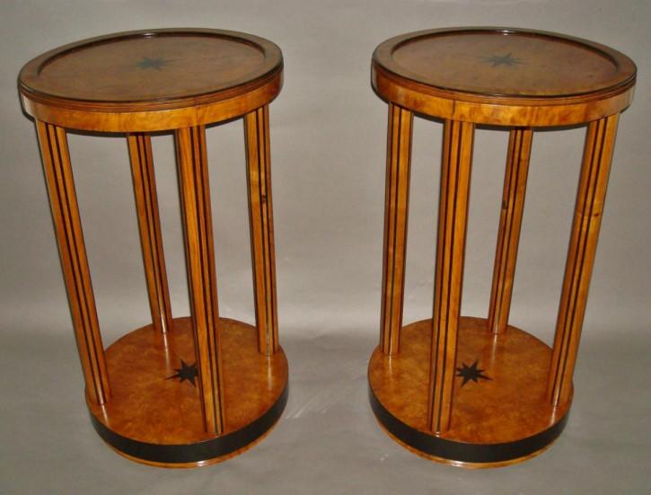 Premium! Antikes Paar Beistelltische aus Ulme und Ebenholz