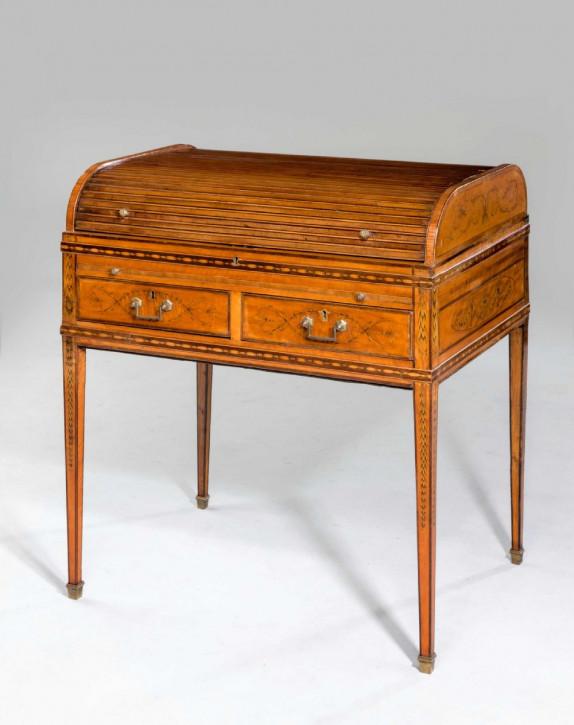 Premium! Antiker Satinholz Tambour-Top-Schreibtisch aus der Zeit George III
