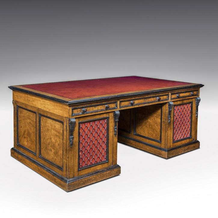 Antiker, großer Eichen Partner-Schreibtisch aus der regency Zeit