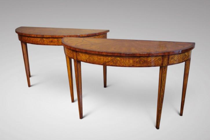 Edwardianisches Paar Beistelltische aus Satinholz Massivholz antik