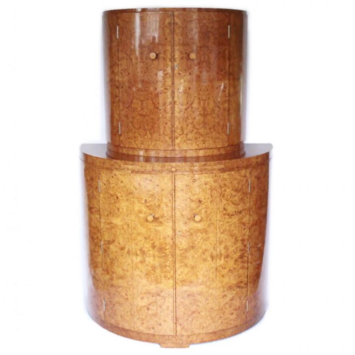 Halbrunder, englischer Art-Déco-Cocktailschrank von Harry & Lou Epstein aus Wurzelnussholz Massivholz um 1930 antik