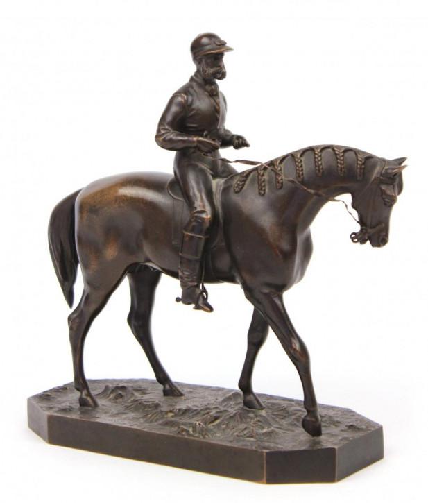 Antike Bronzeskulptur Jockey & Pferd