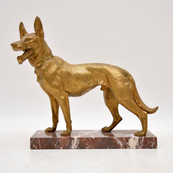 Große antike vergoldete Bronze-Hundeskulptur von Robert Bousquet