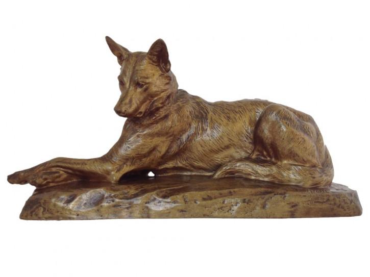 Antike Bronzeskulptur eines Deutschen Schäferhundes von Louis Riché