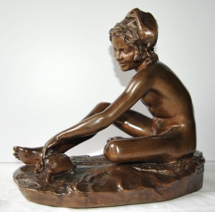 """Antike französische Bronze, """"le pecheur napolitain"""" von Barbedienne"""