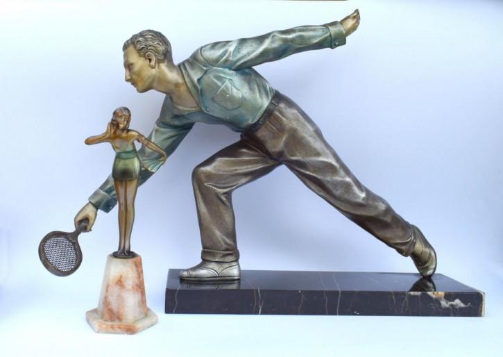 Antike Art-Déco-Skulptur aus Zink von ca 1930