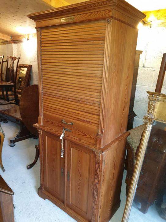 Antiker Edwardian Büroschrank aus Kiefernholz