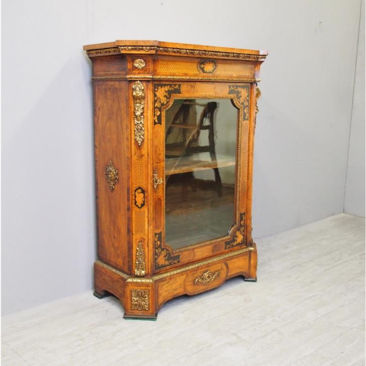Premium! Antiker viktorianischer Inlaid Pier-Schrank aus Nussbaumholz