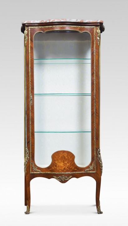 Premium! Antike Serpentinenvitrine aus Kingwood und Intarsien aus dem 19. Jahrhundert