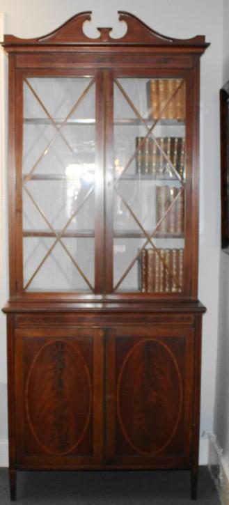 Antiker Sheraton Revival Inlaid Bücherschrank aus Mahagoni und Satinholz