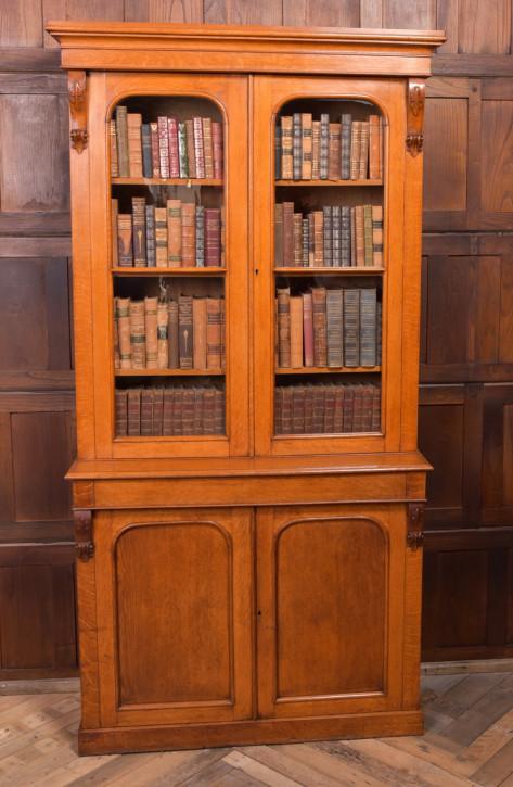 Antiker viktorianischer 2 Tür Bücherschrank aus Honigeiche