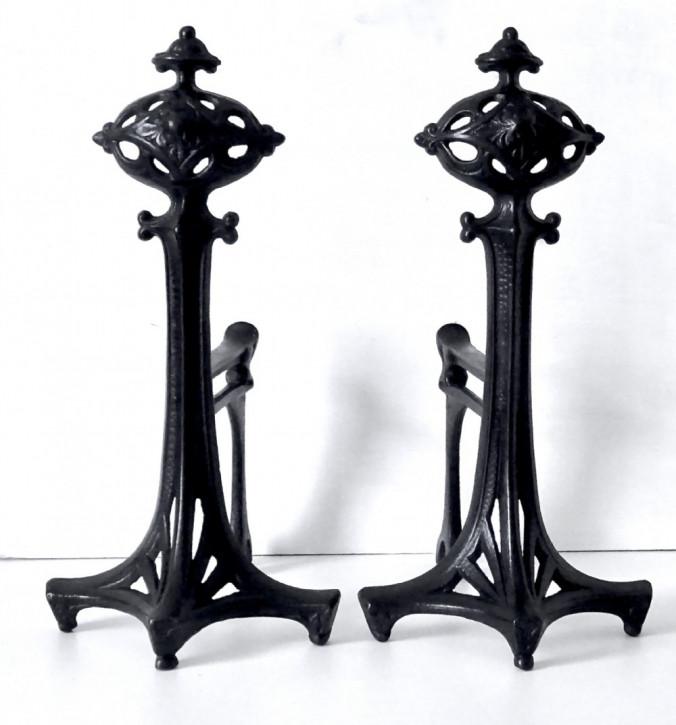 Antikes Paar Feuereisen im Kunsthandwerksstil