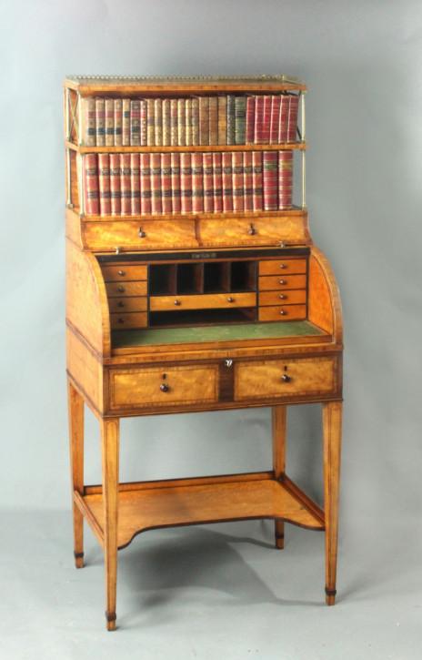 Wunderschöner Antiker Satinholz Bücherschrank Massivholz Sekretär Zylindrisch George III. Sheraton Ära