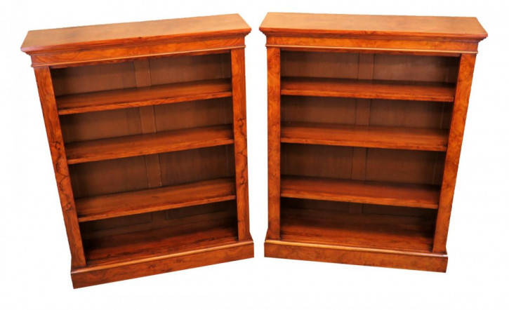 Antikes Paar Englischer Walnussholz Maserknollenholz Bücherregale 19. Jahrhundert