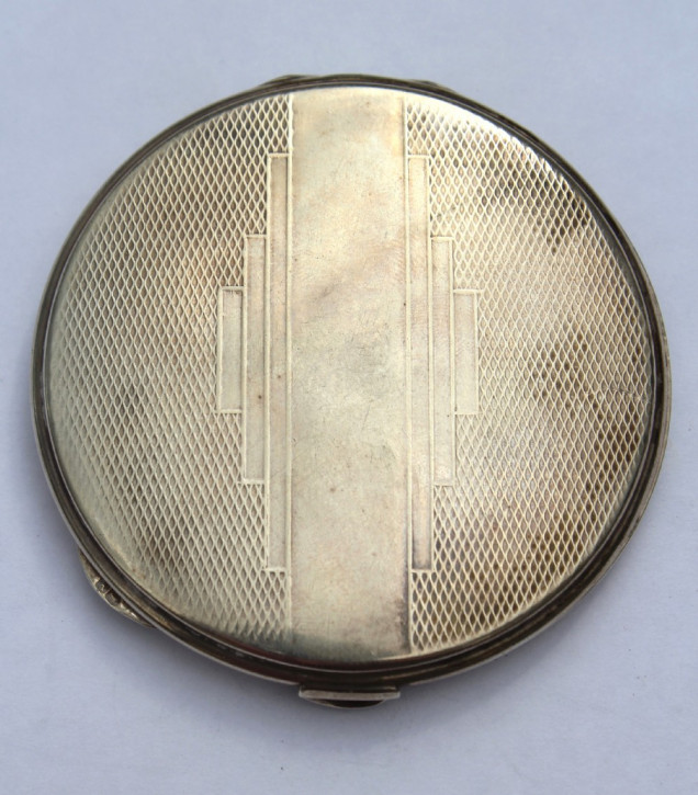 "Antikes Art déco ""Silver Compact"" W.I. Broadway & Co, Birmingham 1920"
