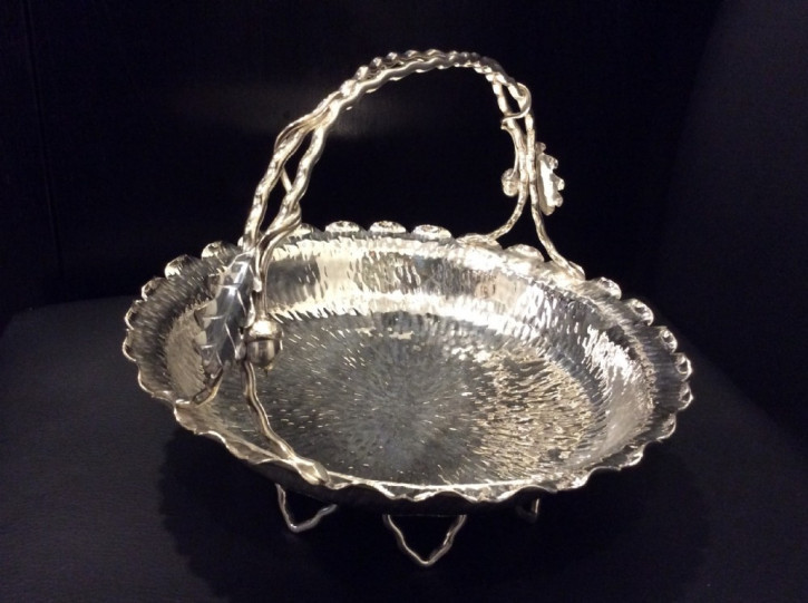 Antiker Hukin and Heath-Korb aus Silber mit detailreichen Verzierungen 1900