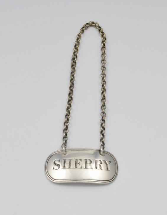"""Antikes viktorianisches """"Sherry""""-decanter label an """"belcher chain"""" von William Knight, um 1845"""