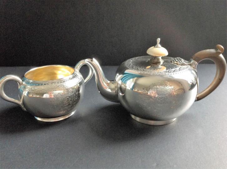 Antikes, viktorianisches Set aus Teekanne und Zuckerdose aus Sterlingsilber von George Fox 1877/78