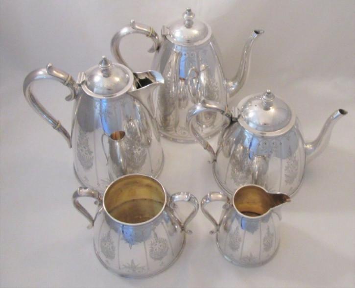 Antikes, 5-teiliges Teeset versilbert von Elkington um 1900