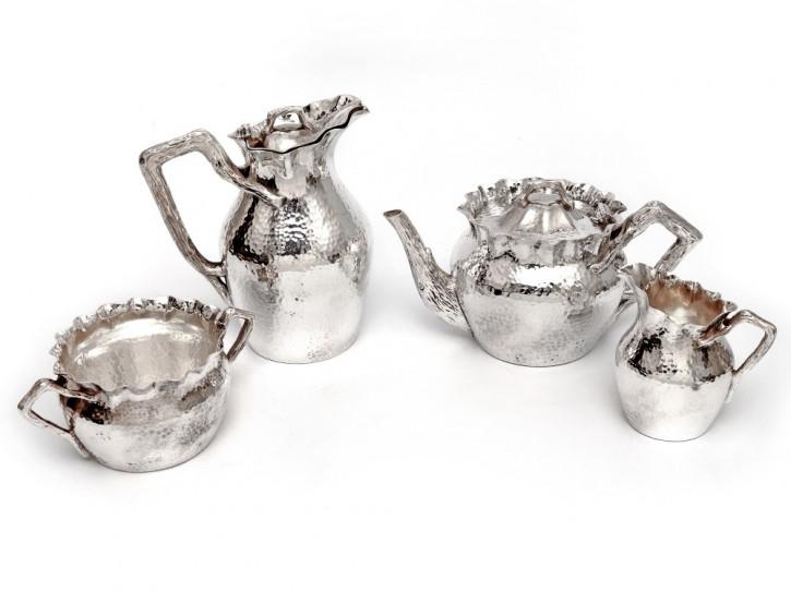Viktorianisches, 4-teiliges Teeservice versilbert von Alfred Browett, antik 1890