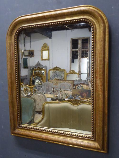 Antiker vergoldeter französsicher Spiegel von Louis Philippe