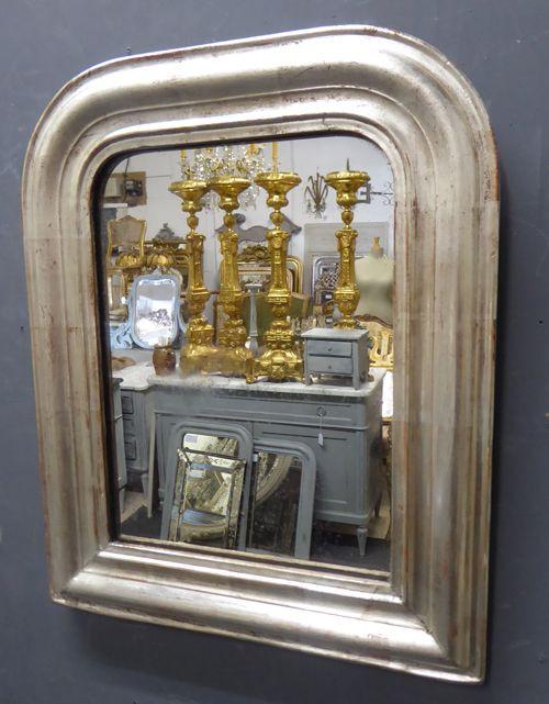 Antiker, silberner, französischer Spiegel von Louis Philippe