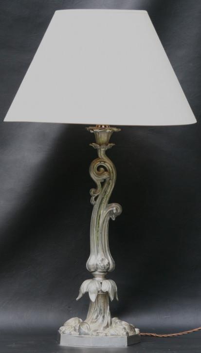 Antike viktorianische versilberte Öllampe, Elektrisch umgewandelt