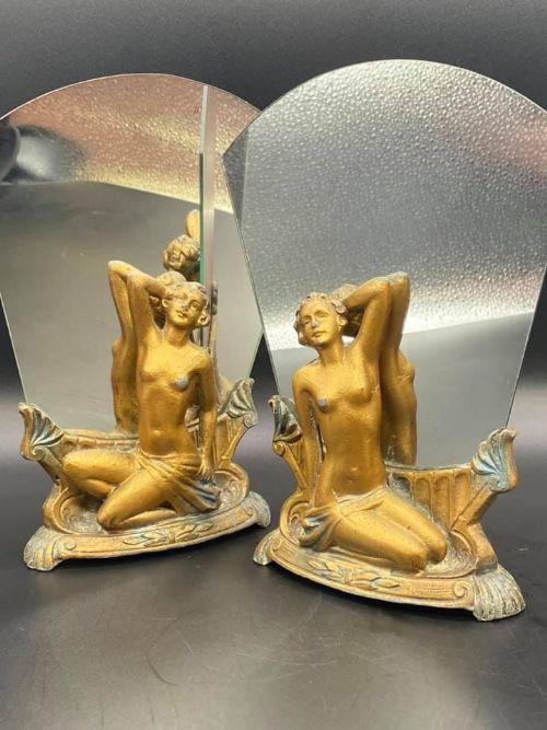 Antikes Paar Art-Deco Spiegel