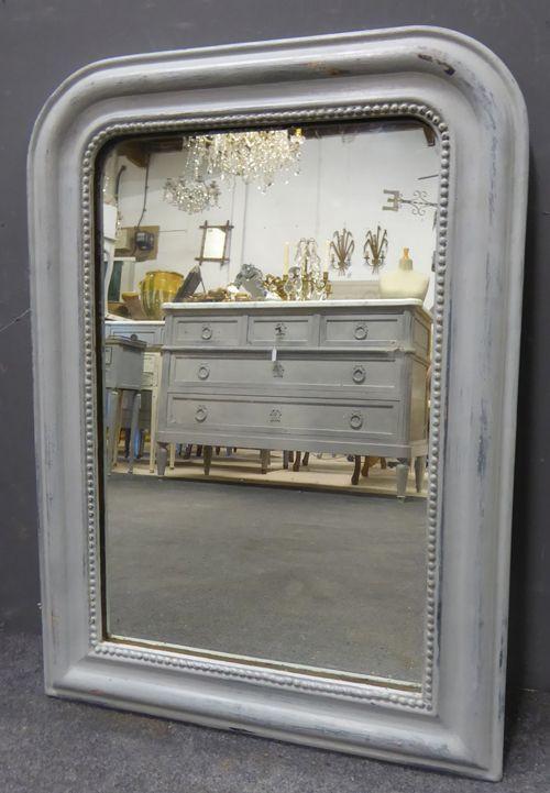 Antiker bemalter französischer Spiegel von Louis Philippe