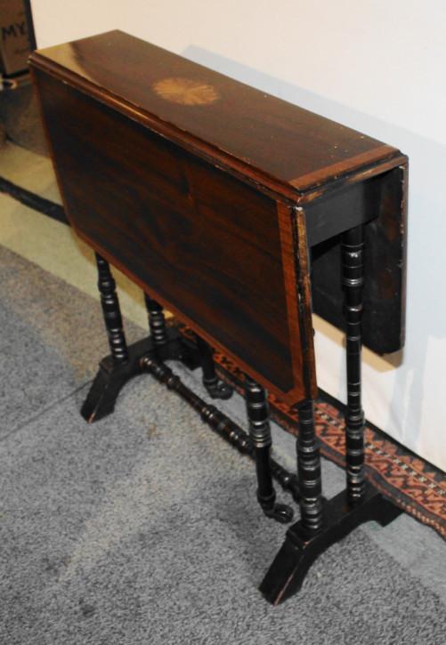 Edwardianischer Sutherland-Tisch mit Satinholz Inlays aus Mahagoni Massivholz antik