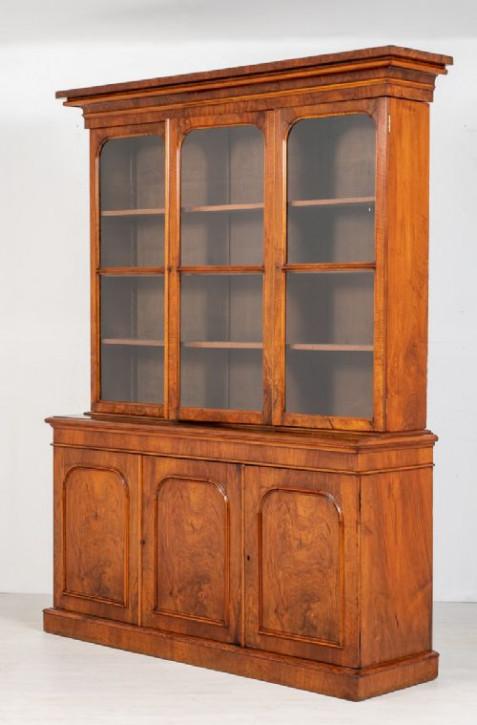 Antiker viktorianischer library Bücherschrank aus massivem Walnussholz