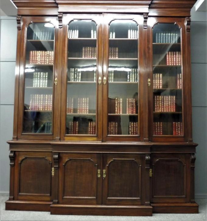 Großes, viktoriansiches Library Bookcase aus Mahagoni Massivholz antik