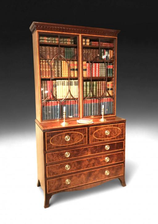 Antikes Library Secretaire Bookcase aus Mahagoni Massivholz 1785