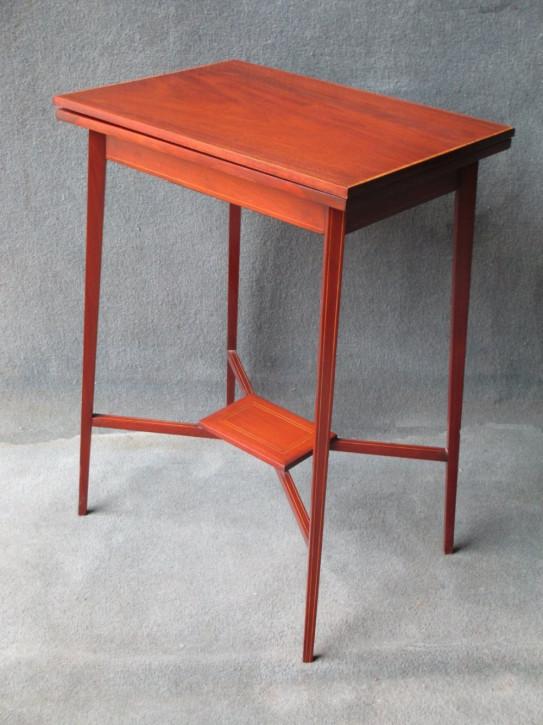 Antiker Games Table aus Mahagoni und Satinholz Massivholz 1900