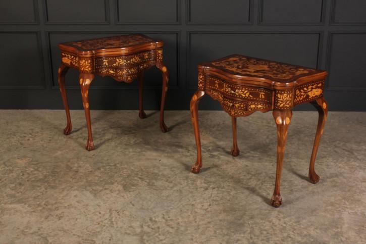 Antikes Paar Game Tables aus Nussbaumholz Massivholz 1890