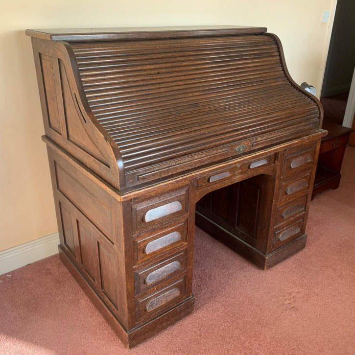 Antiker Rolltop-Schreibtisch aus Eiche Massivholz 1900
