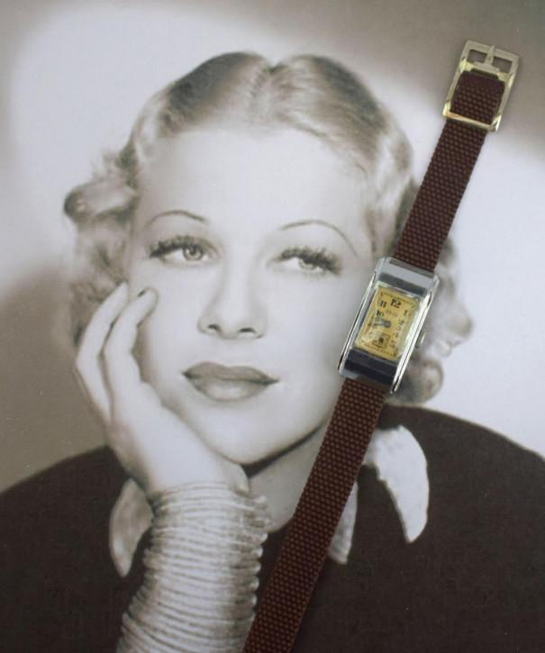 Antike schweizer Art Deco Uhr von Edox