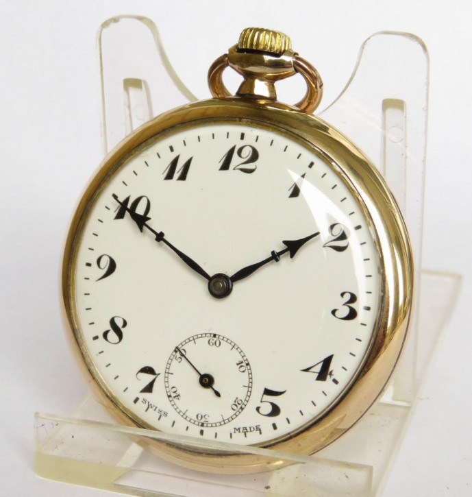 Antike Unitas stem winding Taschenuhr/pocket watch mit vergoldetem Gehäuse 1930