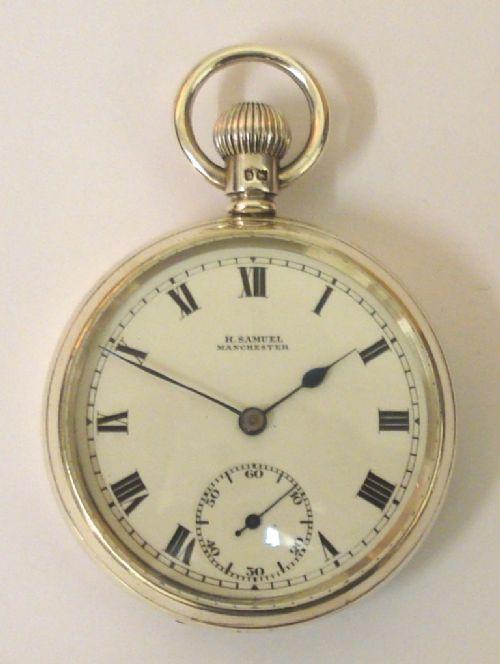 Silberne englische Hebel-Taschenuhr