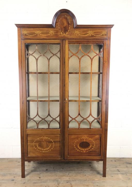 Antike Inlaid Glasvitrine aus Mahagoni