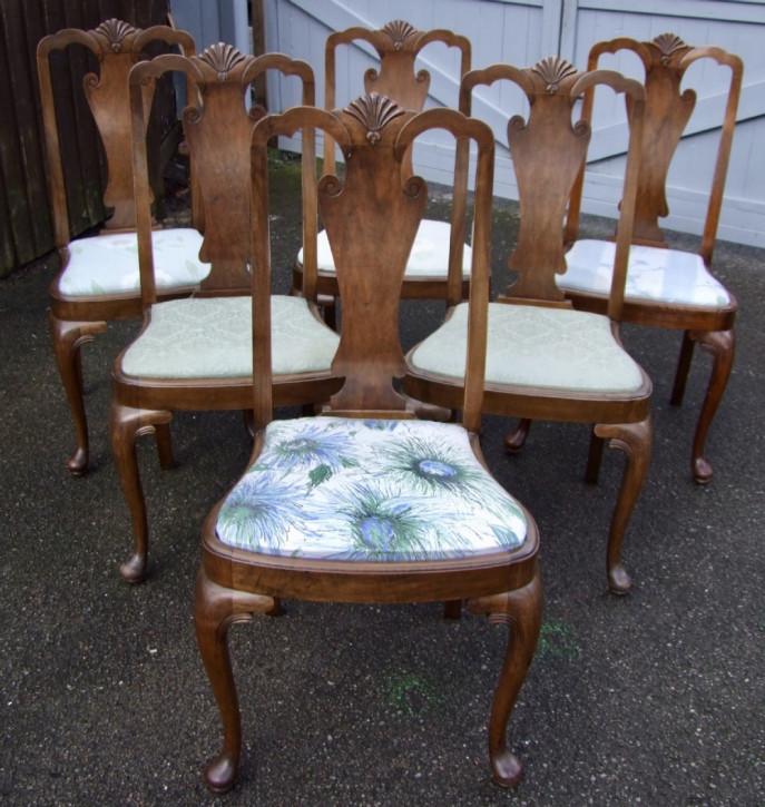 Antikes Set mit sechs Esszimmerstühlen mit Muschelschnitzereien auf der Rückseite