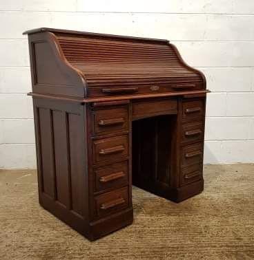 Antiker roll top desk Schreibtisch aus Eiche Massivholz 1890