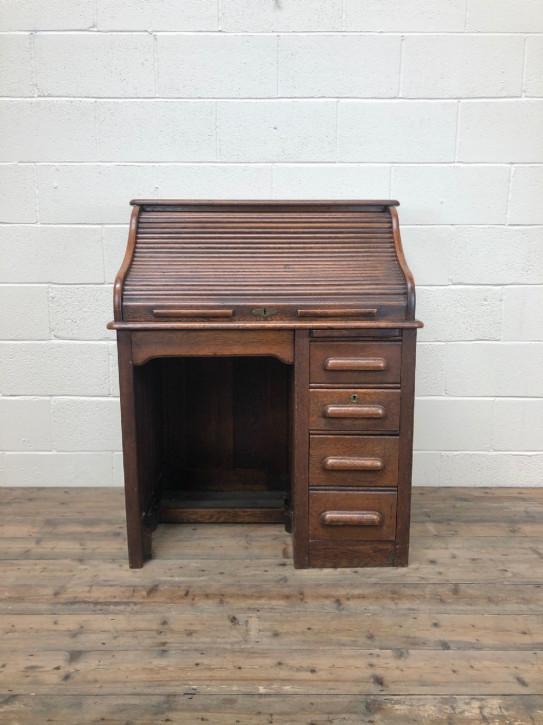 Antiker roll top desk Schreibtisch aus Eiche Massivholz 1910