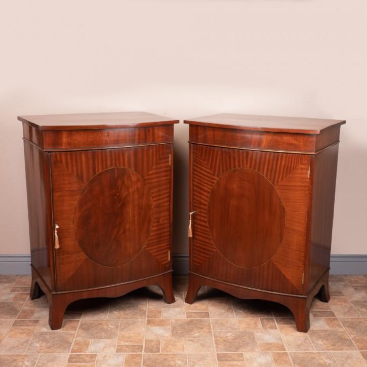 Antikes Paar Inlaid Mahagonischränke von 1920