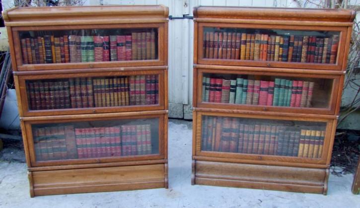 Antikes Paar Globe Wernicke Bücherschränke aus Eiche Massivholz 1930