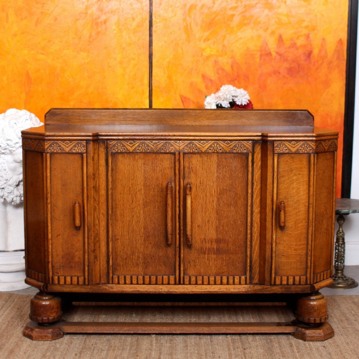 Antikes Art Deco Cocktail-Sideboard aus Eichenholz