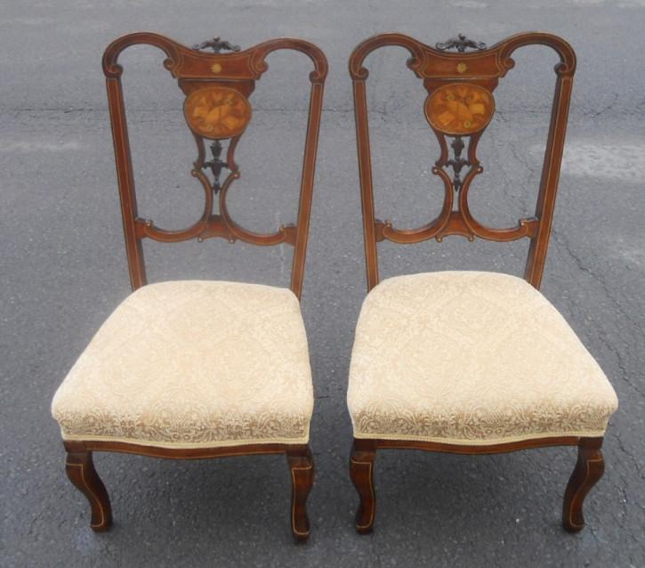 Antikes Paar Inlaid Stühle um 1900